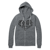 Heart Attack: Heart Attack Warface Glitter Print Zip up Hoodie