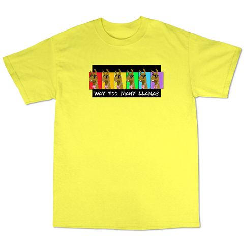 WayTooManyLlamas Rainbow T shirt  ( Yellow T shirt  )