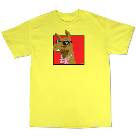 WayTooManyLlamas  ( Yellow T shirt Red Logo )