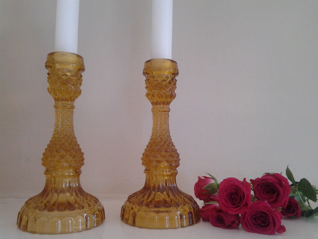 Amber Depression Glass Candlestick Holders