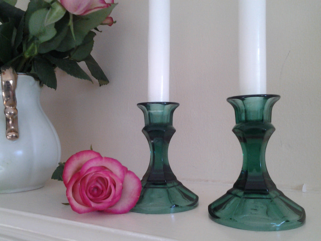 Green Depression Glass Candlestick Holders