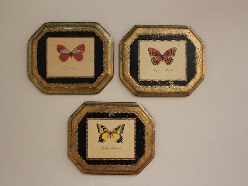 Vintage Florentia Butterflies Set of Three Wall Plaques