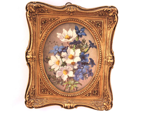 Blue and White Floral Print in Vintage Frame