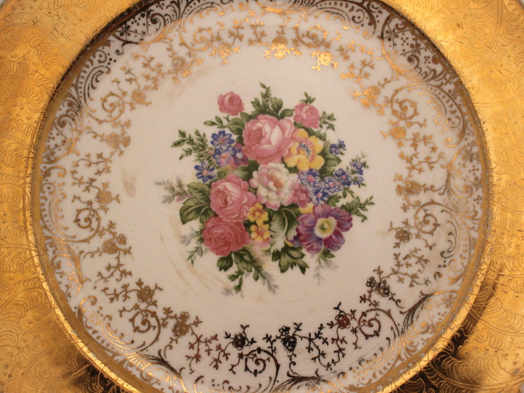 Set of Two Vintage 22 Karat Gold Plates