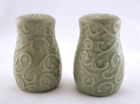 Green Vintage Salt and Pepper Shakers