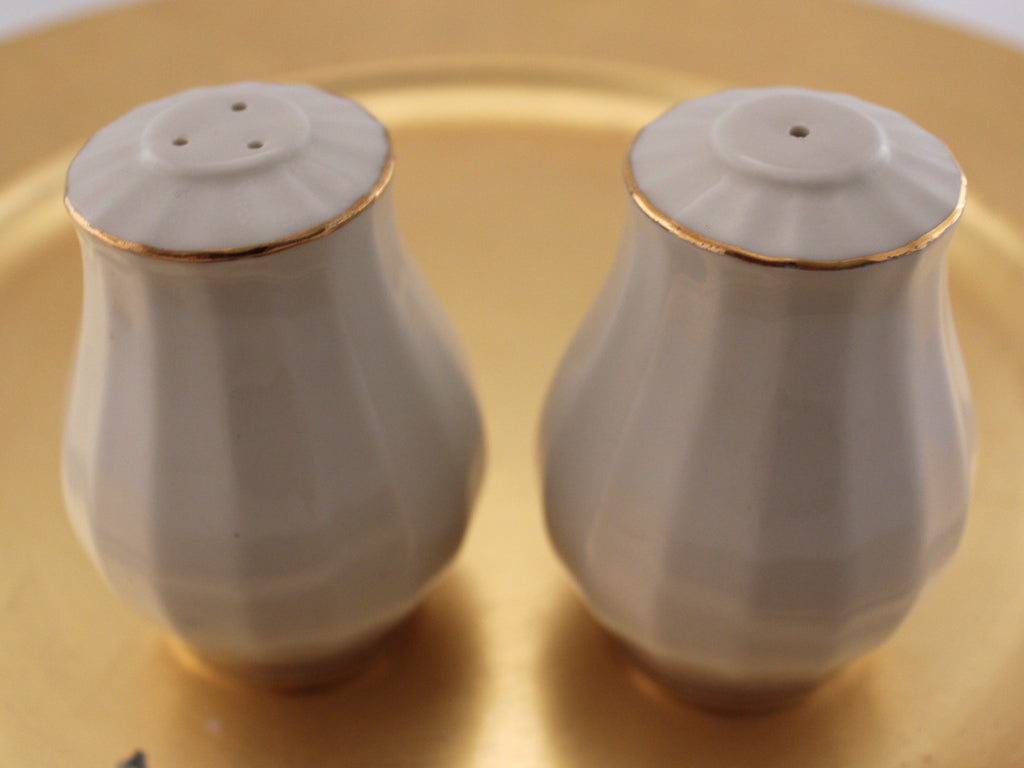 White and Gold Salt and Pepper Shakers