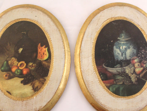 Set of Two Vintage Oval Florentine Plaques