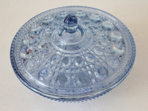 Blue Cut Glass Vintage Candy Dish