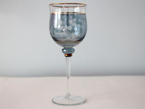 Blue and Gold Vintage Wine Glass