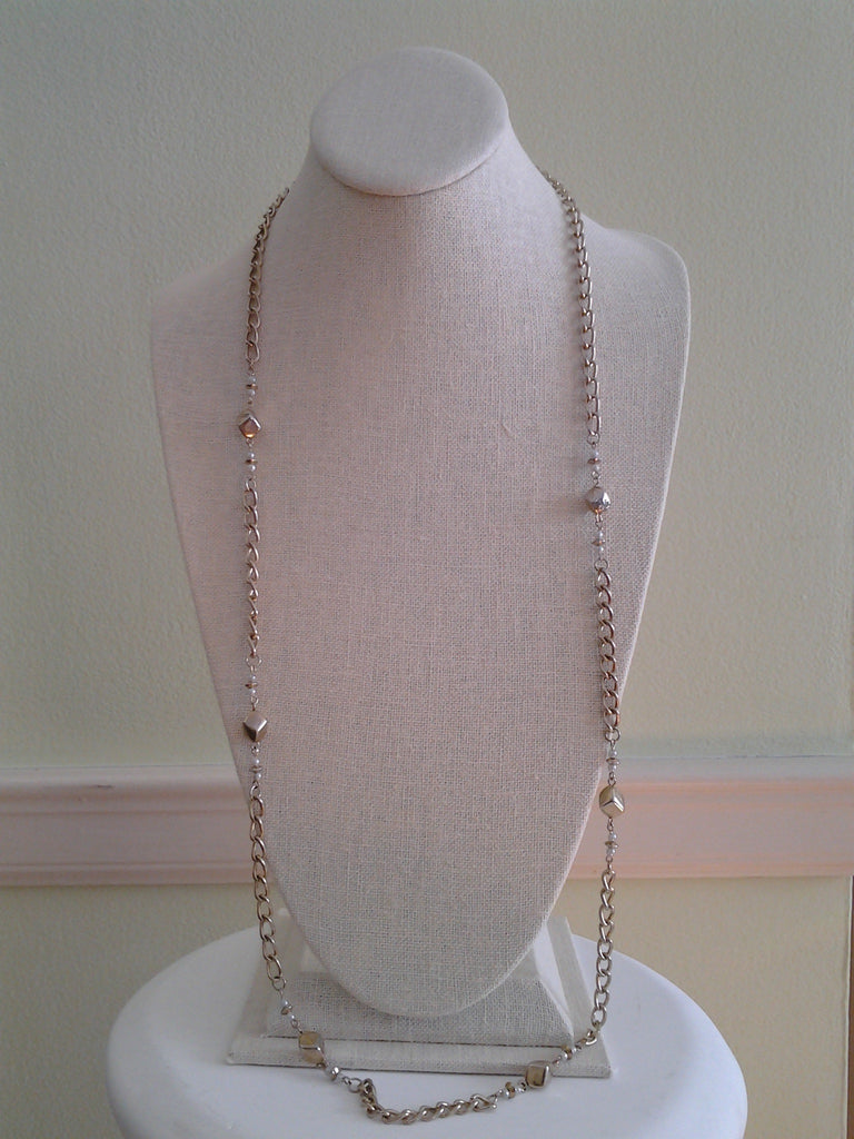 Vintage Chain Necklace with Faux Pearls