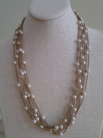 Multi-Strand Vintage Pearl Necklace