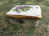 Hand-Painted Vintage Violet Keepsake Box