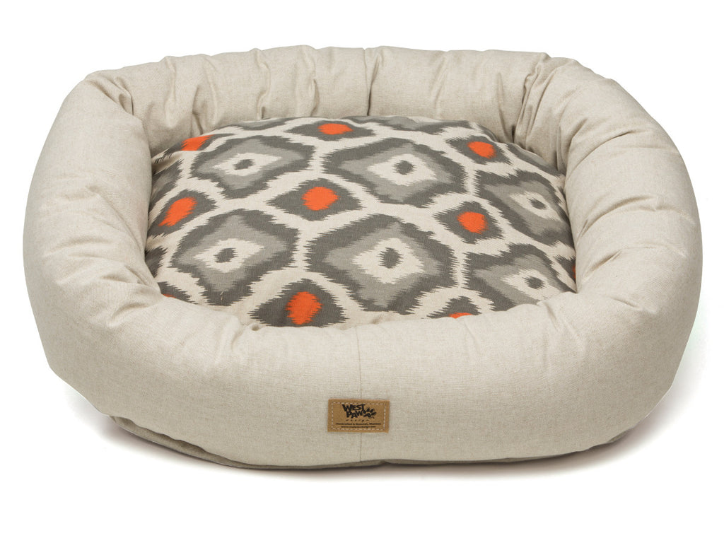 West Paw Linen Sunset Ikat Cotton Bumper Pet Bed