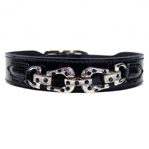 After Eight Dog Collar - Noir Patent