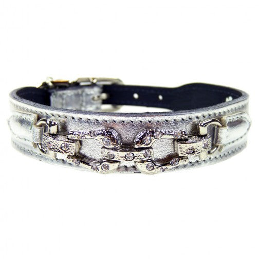 After Eight Dog Collar - Silver Metallic