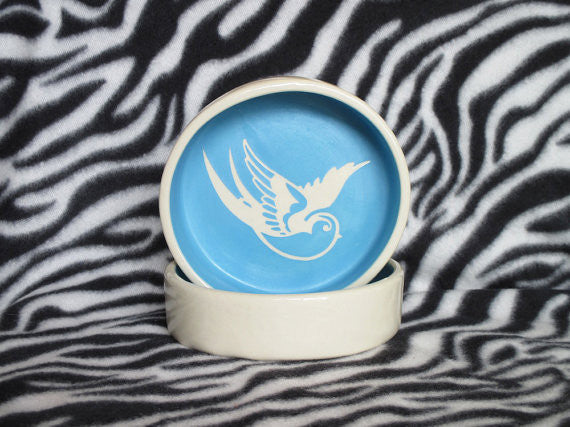 Baby Blue Sparrow Pet Food and Water Bowls