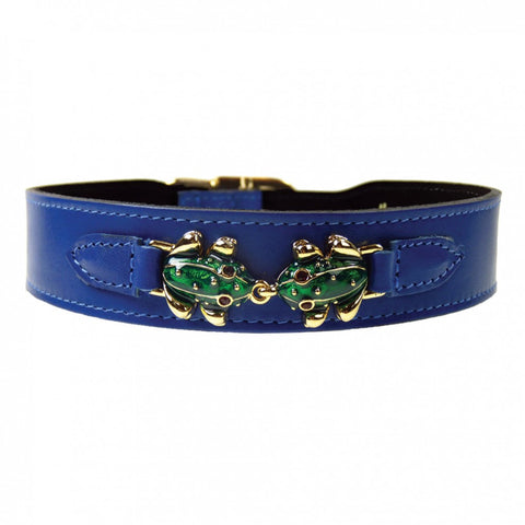 Leap Frog Dog Collar - Cobalt Blue