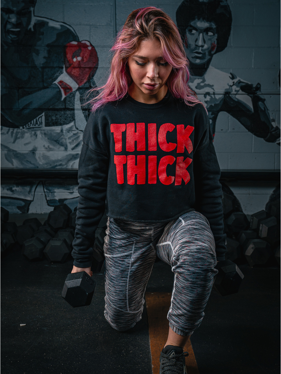 'THICK THICK' | Women's Cropped Crew (2 Colors Available)