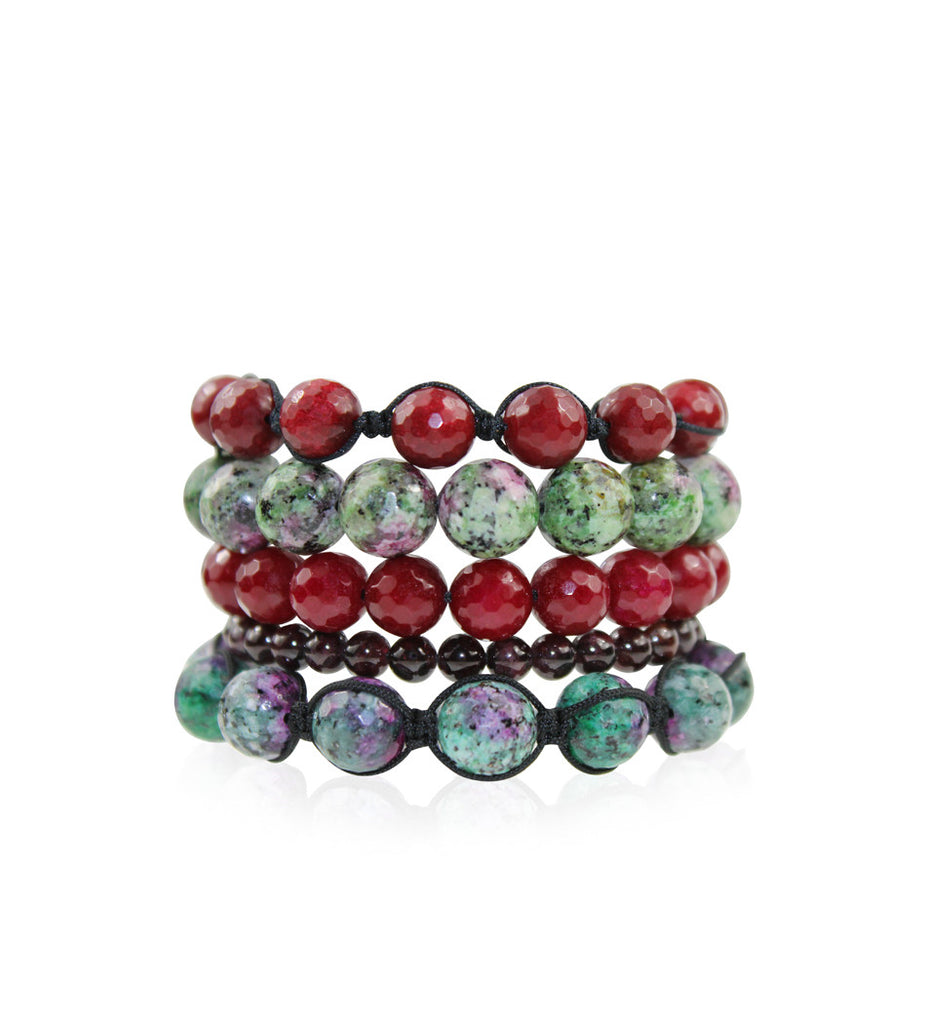 Anyolite and Quartzite Stackable Bracelets