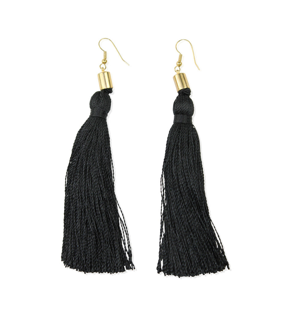 Black Silk Tassel Earrings