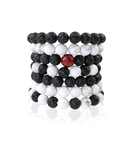 Lava and Howlite Stackable Bracelets