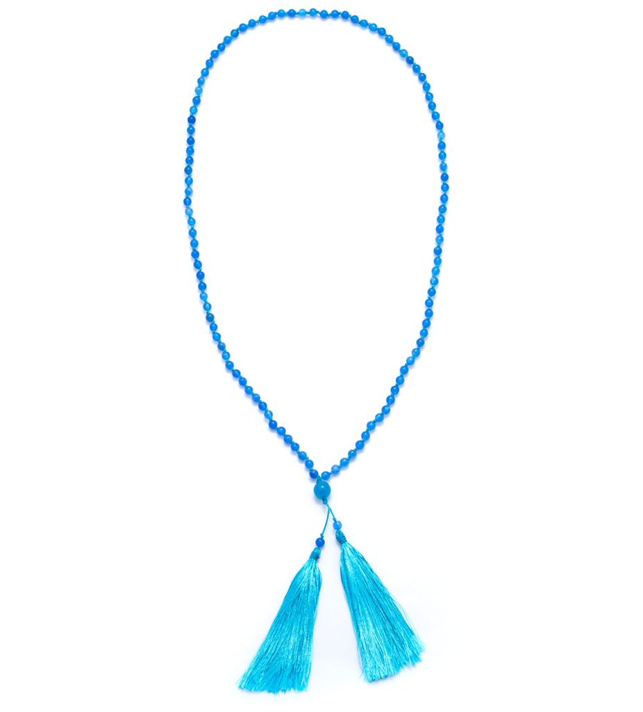 Blue Agate Large Tassel Necklace
