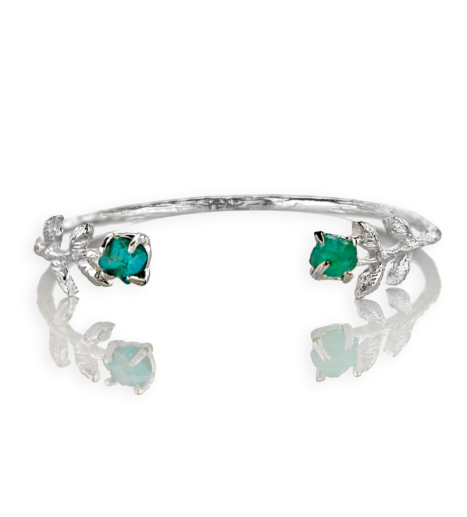 Turquoise and Apatite Silver Bracelet
