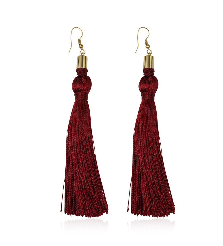 Burgundy Silk Tassel Earrings