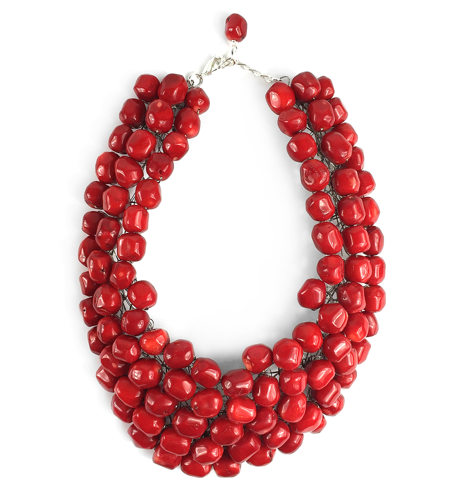 Coral Red Statement Bib