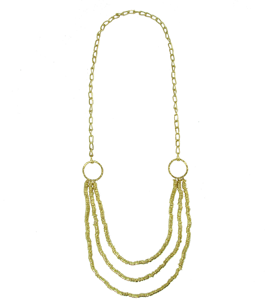 amp and gold daisy tiered s necklace bar claire chain
