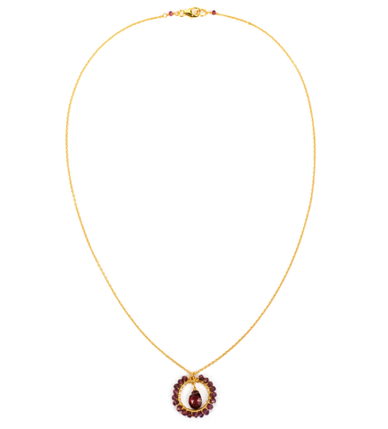 Garnet Circle Necklace