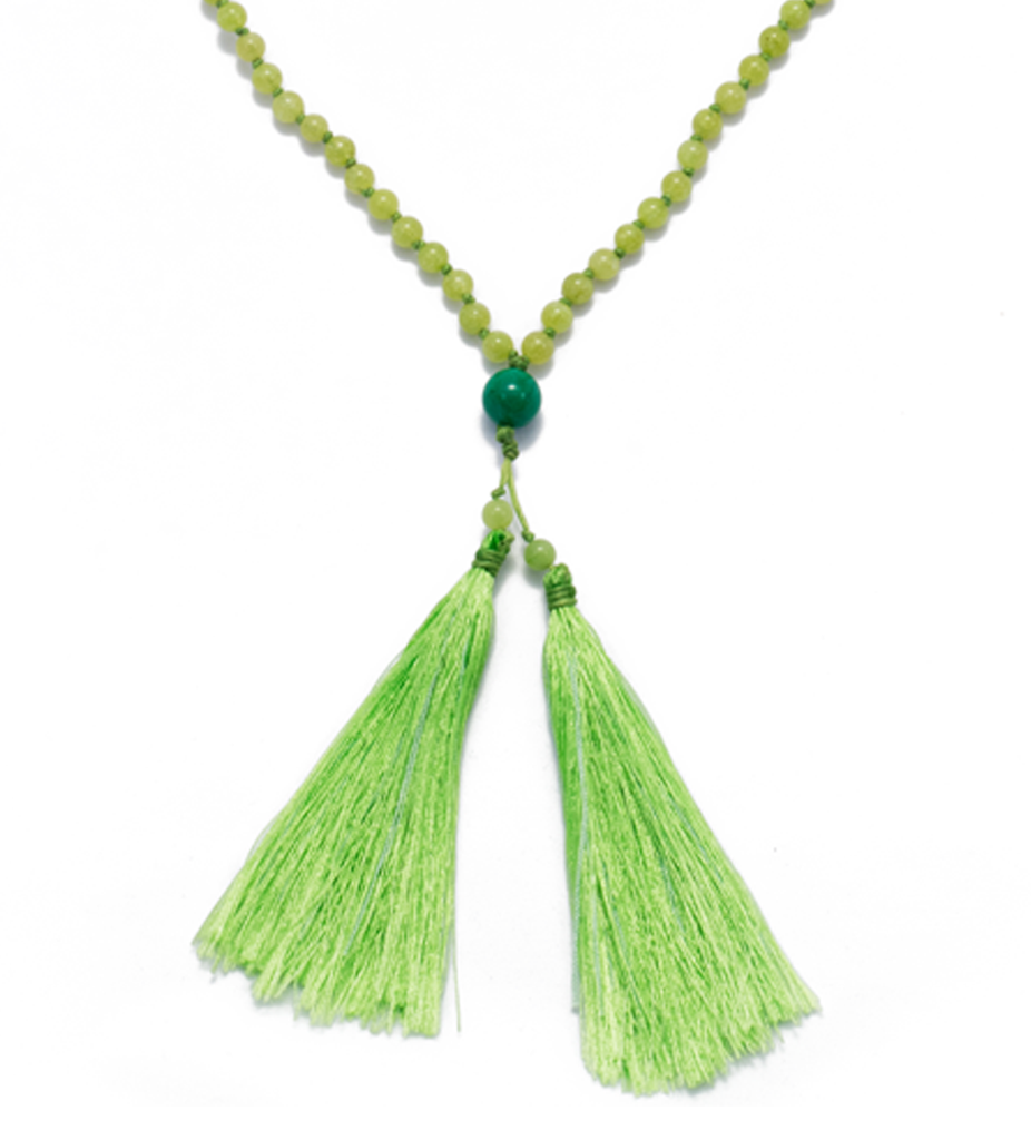 Green Agate Large Tassel Necklace