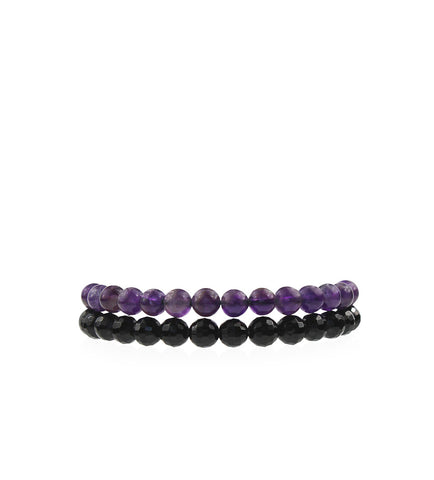 Onyx and Amethyst Stackable Bracelets