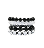 Onyx, Quartz and Hematite Stackable Bracelets