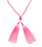 Pink Agate Large Tassel Necklace