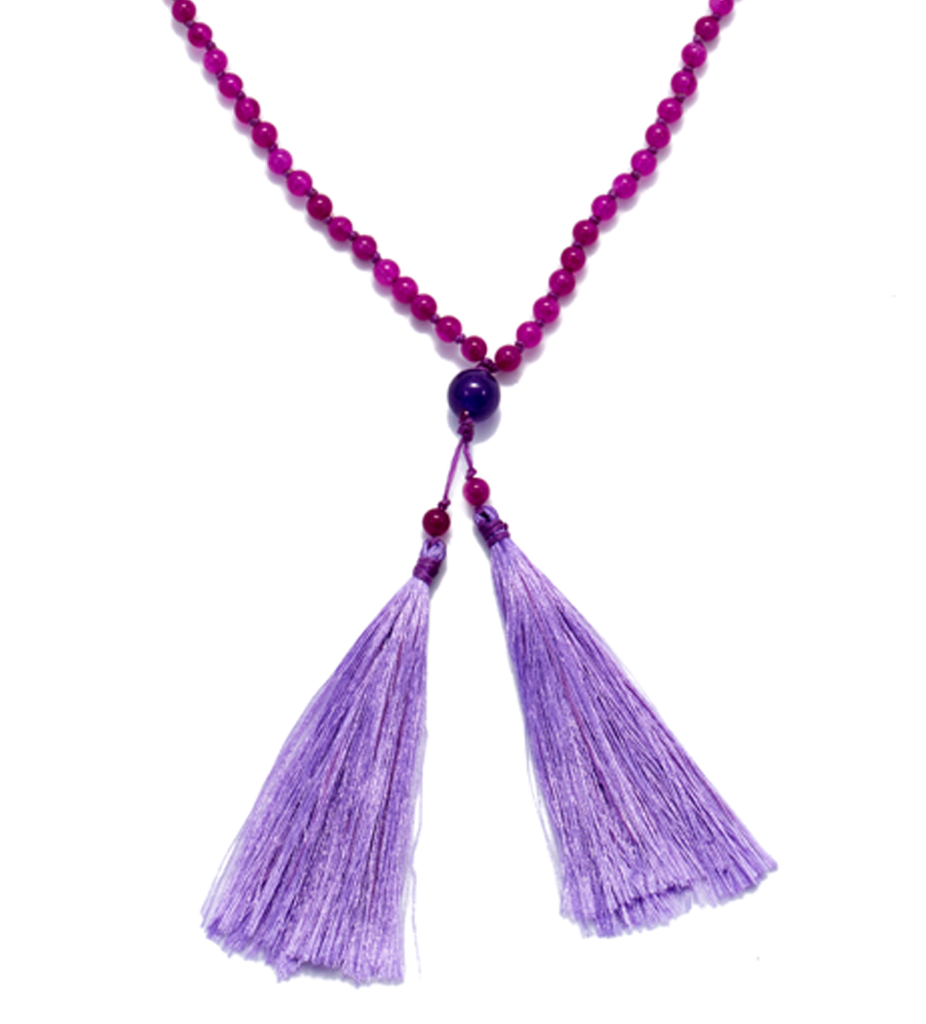 Purple Agate Large Tassel Necklace