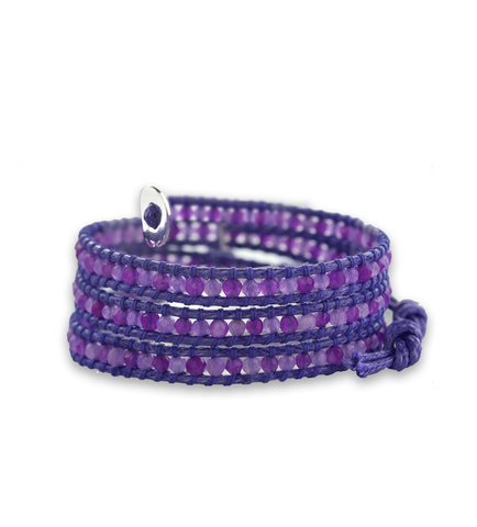 Purple Agate Wrap Bracelet