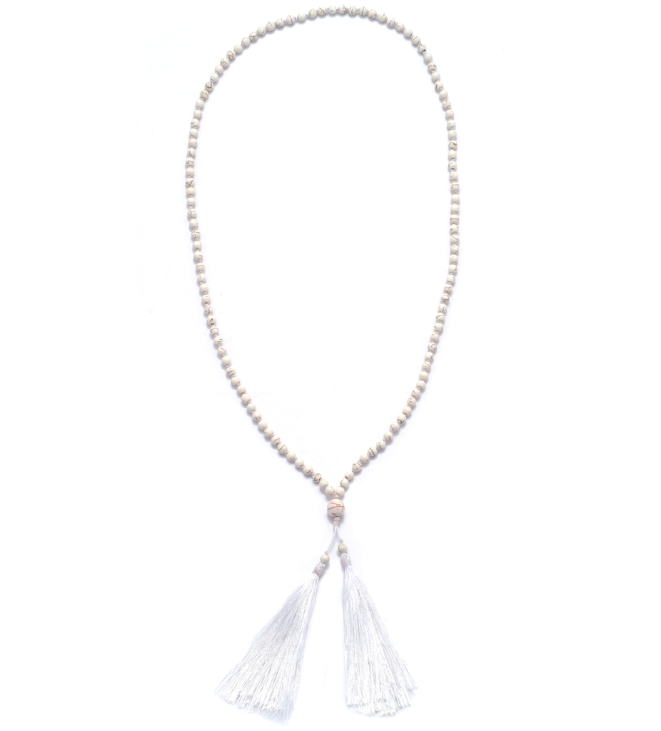 Howlite Large Tassel Necklace