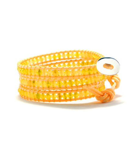 Yellow Agate Wrap Bracelet