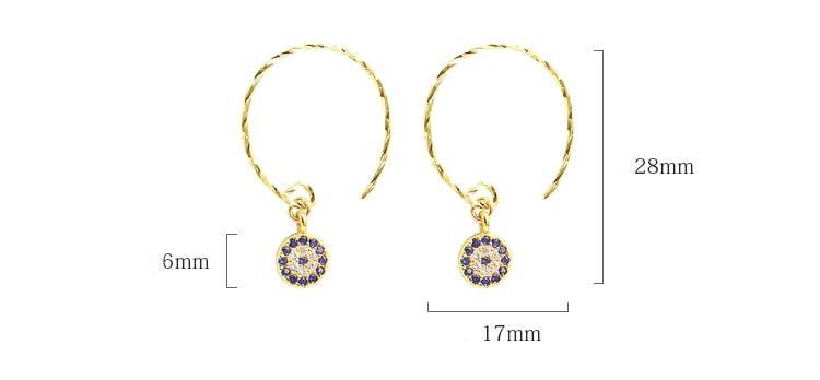 Gold Plated Evil Eye Hamsa Earrings