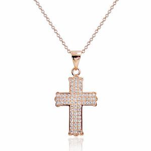 "Sterling Silver Micro Pave CZ Cross Necklace 16""+ 2"" Extender"