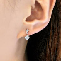 Gorgeous  Sterling Silver Prong Settings Cz Earrings Studs