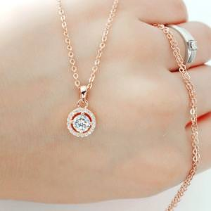 Rose Gold Plated Sterling Silver CZ Halo Pendant Necklace