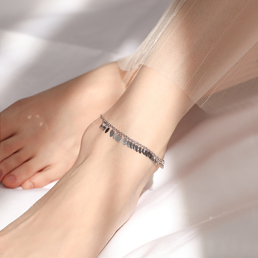 Sterling Silver Sparkly Charm Anklet Foot Jewelry