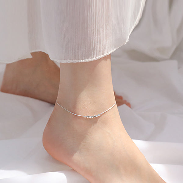 Solid Sterling Silver Simple Ball Bead Anklet Bracelets