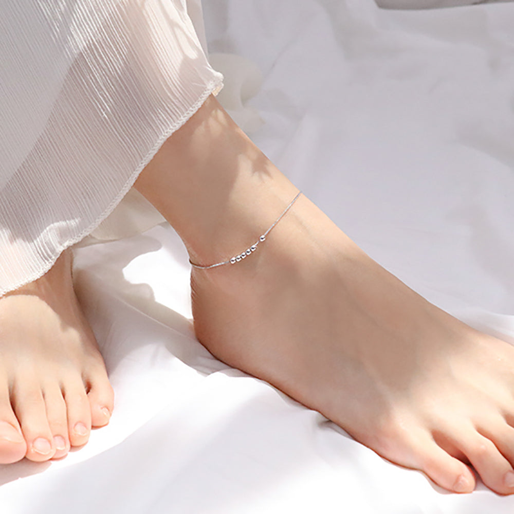 Solid Sterling Silver Simple Ball Bead Anklet Bracelets 2