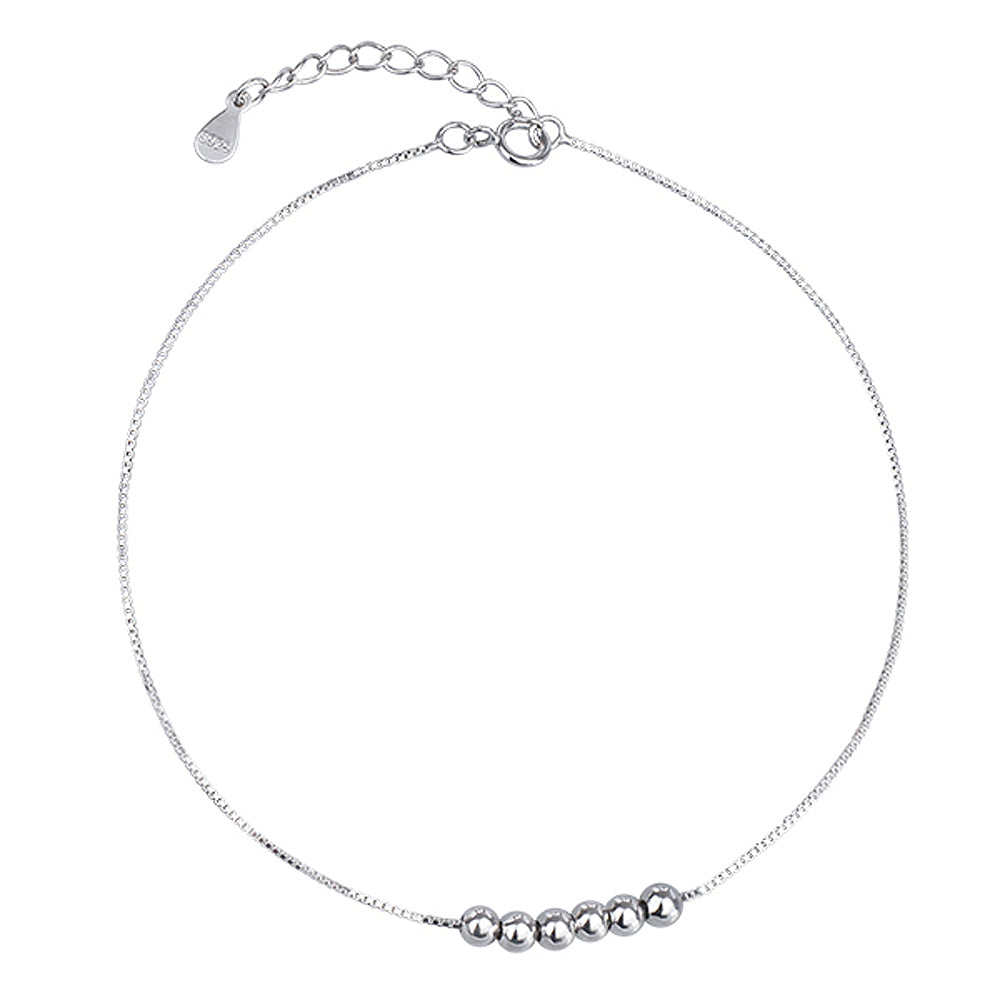 Solid Sterling Silver Simple Ball Bead Anklet Bracelets 6