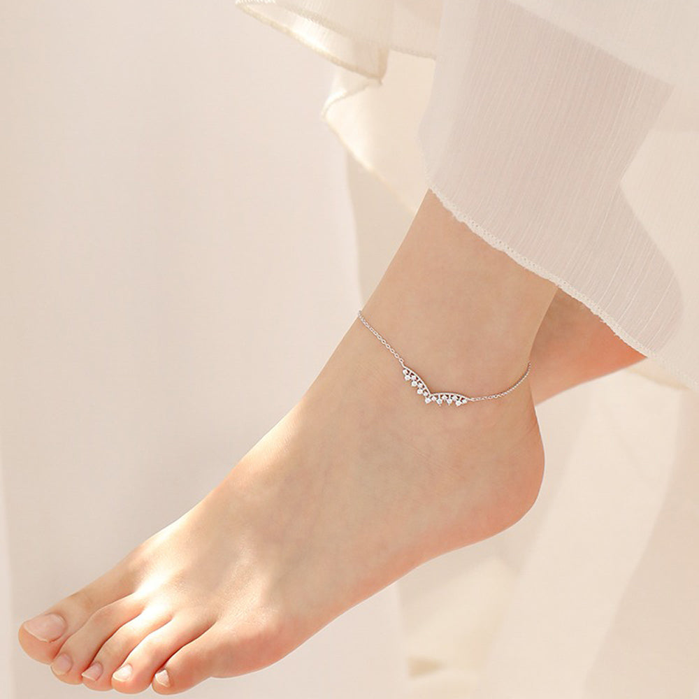 Sterling Silver CZ Fashion Adjustable V Anklets Bracelet 3
