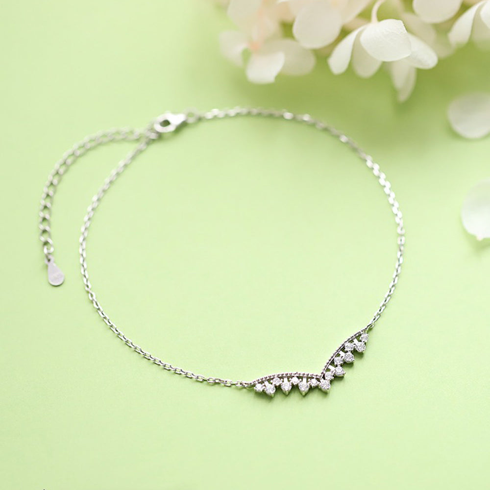 Sterling Silver CZ Fashion Adjustable V Anklets Bracelet 4