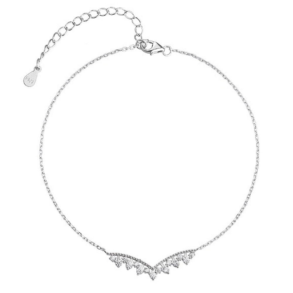 Sterling Silver CZ Fashion Adjustable V Anklets Bracelet